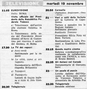 Il palinsesto delle trasmissioni TV del 19/11/1957